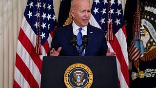 US President Joe Biden speaks during an event to commemorate Pride Month, in the East Room of the White House in Washington.