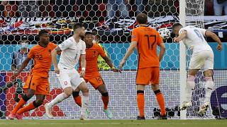 Czech Republic's Tomas Holes, right, scores his sides first goal during the Euro 2020 round of 16 match with Netherlands in Budapest, Hungary, Sunday, June 27, 2021.