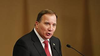 FILE: Swedish Prime Minister Stefan Lofven delivers a speech at National Assembly in Seoul, South Korea, Thursday, Dec. 19, 2019.