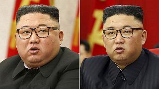 Der nordkoreanische Machthaber Kim Jong Un bei einem Partei-Treffen in Pjöngjang, Nordkorea, am 8.2.2021 (links) und am 15.06.2021 (rechts)