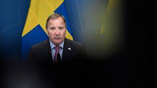 Sweden's Social Democratic Prime Minister Stefan Lofven holds a press conference at Rosenbad in Stockholm, Monday June 28, 2021.