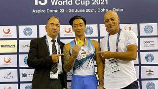 Ο Μάριος Γεωργίου με το χρυσό μετάλλιο