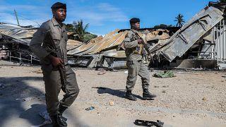 Arquivo- Militares do exército moçambicano a patrulhar as ruas de Palma, Moçambique