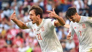 شادی میکل اویارسابال پس از پنجمین گل اسپانیا