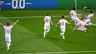 Switzerland celebrate a goal against France
