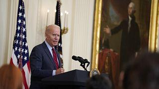 الرئيس الأميركي جو بايدن خلال مؤتمر صحافي في البيت الأبيض