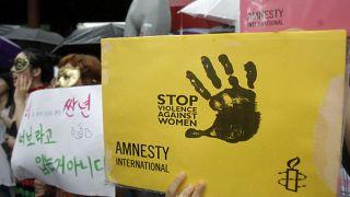 من مظاهرة منددة بالعنف ضد النساء في كوريا الجنوبية (أرشيف)