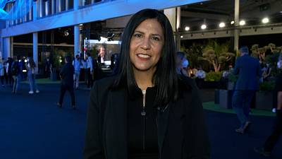 Danielle Royston at the Cloud City space at Mobile World Congress 2021 in Barcelona.