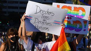 """İspanya'da """"transseksüel hakları insan haklarıdır"""" yazılı pankart taşıyan bir kişi (arşiv)"""