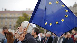 EU-párti tüntető, 2016, Budapest (archív fotó)