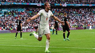 شادی هری کین پس از گلزنی در برابر آلمان