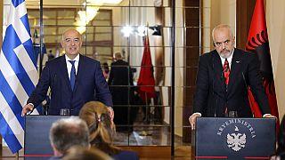 Ο υπουργός Εξωτερικών Νίκος Δένδιας με τον πρωθυπουργό της Αλβανίας Έντι Ράμα