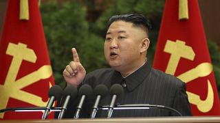 North Korean leader Kim Jong Un speaks during a Politburo meeting of the ruling Workers' Party in Pyongyang, North Korea, Tuesday, June 29, 2021.
