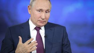 Russian President Vladimir Putin attends his annual live call-in show in Moscow, Russia, Wednesday, June 30, 2021.