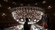 The Teatro Colón in Buenos Aires prepares its chandelier for its reopening