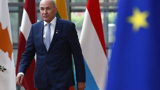 Slovenia's Prime Minister Janez Jansa arrives for an EU summit at the European Council building in Brussels, Tuesday, May 25, 2021.