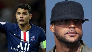 Footballer Thiago Silva (L) and rapper Booba (R) were among the celebrities targeted by the burglars.