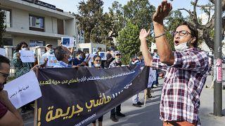 احتجاج أمام محكمة الدار البيضاء المغرب، 22 سبتمبر 2020، في اليوم الأول لجلسة الصحفي والناشط عمر الراضي.
