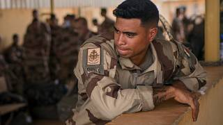 French Barkhane force soldiers who wrapped up a four-month tour of duty in the Sahel leave their base in Gao, Mali Wednesday June 9, 2021.