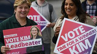 Labour MP Emily Thornberry (L) canvassing for candidate Kim Leadbeater, in Batley, West Yorkshire on June 26, 2021, ahead of the July 1 Batley and Spen by-election.