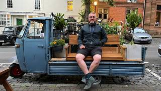 Adam Tranter created a mini parklet out of a flatbed truck