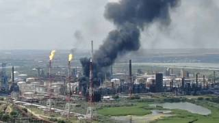 Aerial pics about the burning Navodari Petromidia plant, 2nd July 2021.