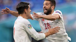 Jordi Alba és Alvaro Morata ünnepli a spanyol válogatott gólját Svájc ellen