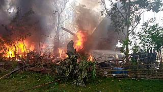 The C-130 crash site in Patikul, Sulu on Sunday (July 4, 2021).