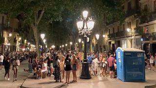 Revellers in Barcelona