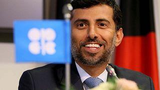 وزير الطاقة لدولة الإمارات العربية المتحدة، سهيل محمد المزروعي خلال مؤتمر صحفي عقب اجتماع منظمة البلدان المصدرة للبترول (أوبك)، فيينا، النمسا، النمسا، الجمعة 7 ديسمبر 2018