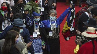 Elisa Loncón alza una bandera mapuche tras ser elegida presidenta de la Convención Constituyente de Chile