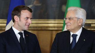 Sergio Mattarella et Emmanuel Macron lors du sommet de Naples le 27 février 2020