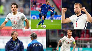 Euro 2020'de yarı final karşılaşmalarında İspanya-İtalya ve İngiltere-Danimarka kozlarını paylaşacak.