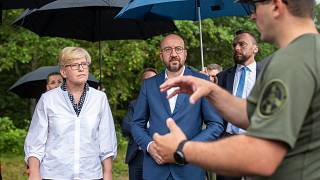European Council President Charles Michel,  and Lithuania's Prime Minister Ingrida Simonyte