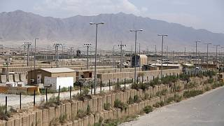 Blast walls and a few buildings can be seen at the Bagram air base after the American military left the base, in Parwan province north of Kabul, Afghanistan.