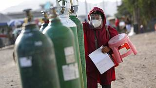 Bombonas de oxígeno en Perú