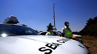 A view of a police customs vehicle near Dhekelia military base