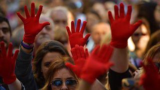 Pamplona'daki tecavüz davası sonrası protestolardan bir kare