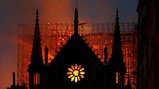 Flames and fume  emergence  from Notre Dame cathedral arsenic  it burns successful  Paris, Monday, April 15, 2019.