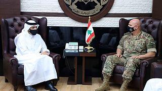 دیدار وزیر خارجه قطر با فرمانده ارتش لبنان
