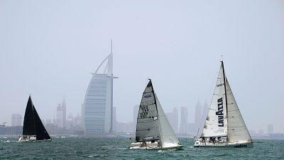 Sailing race passing the Burj al Arab