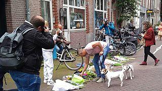Anschlagsort in der Amsterdamer Innenstadt