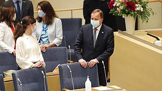 Stefan Löfven im Parlament in Schweden