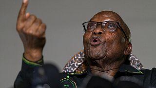 Former president   Jacob Zuma gestures arsenic  helium  addresses the property   astatine  his location  successful  Nkandla, KwaZulu-Natal Natal Province, Sunday, July 4, 2021.