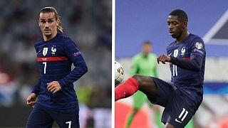 Fransız futbolcular Antoine Griezmann (solda) ve Ousmane Dembele (sağda)