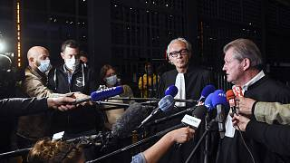 Lawyers of Hubert Caouissin, Thierry Fillion (L) and Patrick Larvor (R) talk to the press at Nantes' courthouse