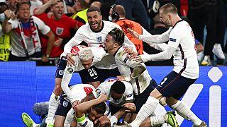 L'Angleterre après avoir marqué un penalty contre le Danemark le 7 juillet 2021