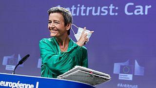 European Commission vice-president Margrethe Vestager addresses a press conference on an antitrust case