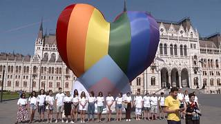 """Hongrie : des militants LGBT dénoncent la loi """"homophobe"""" de Viktor Orbán devant le Parlement"""