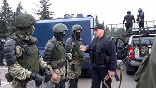 لوکاشنکو در میان نظامیان این کشورحاضر شد
